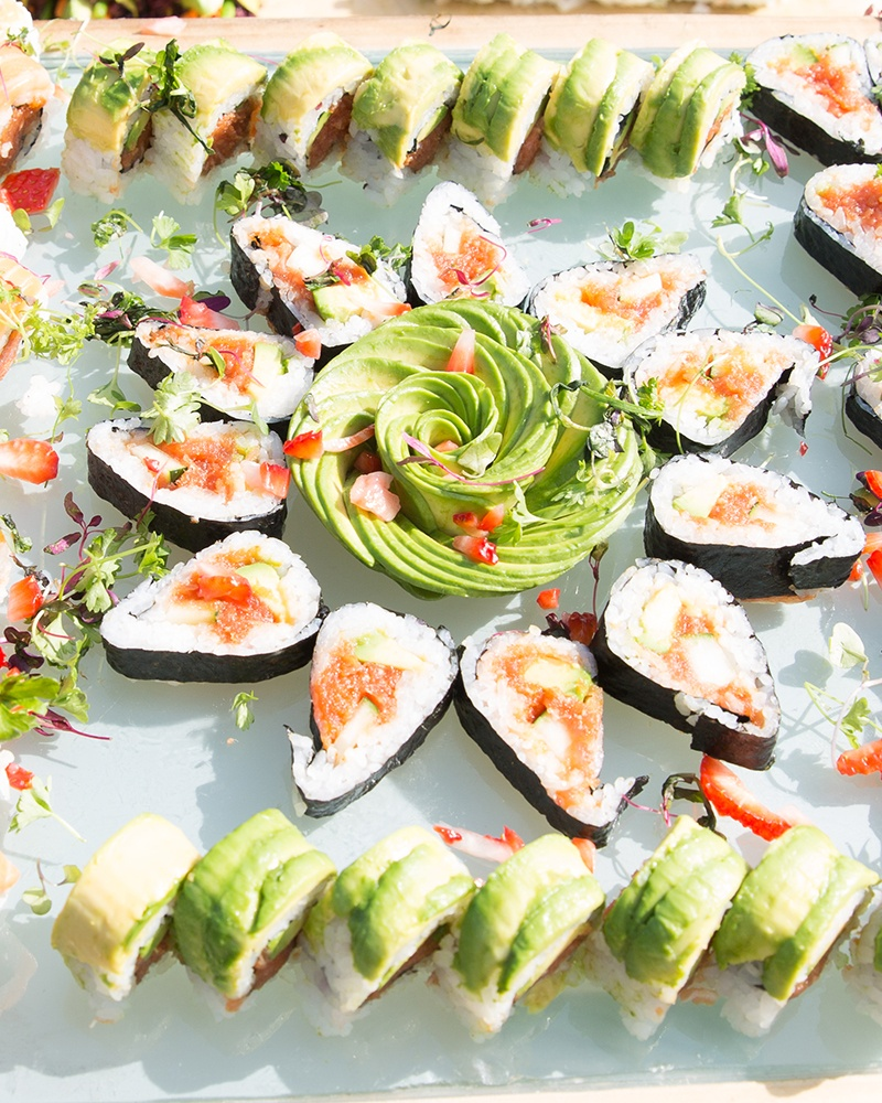 Display of Pretty Sushi Platter by Yooshi Sushi, California's Best Sushi Caterer